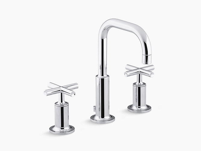 Kohler Elmbrook 8 In Widespread 2 Handle Bathroom Faucet: Purist Widespread Sink Faucet With Low Cross Handles