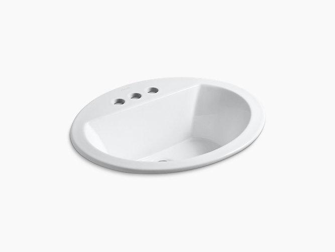 bryant oval drop in sink w 4 inch centers and overflow k 2699 4 kohler. Black Bedroom Furniture Sets. Home Design Ideas