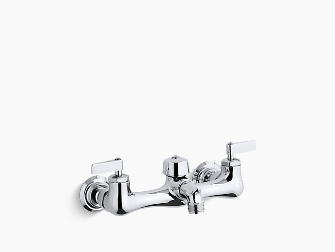 Knoxford Double Lever Handle Service Sink Faucet With 2 1 4 Vacuum Breaker Threaded Spout K