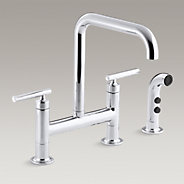 "Purist® two-hole deck-mount bridge bridge kitchen sink faucet with 8-3/8"" spout and matching finish sidespray"