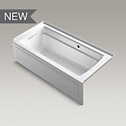 "Archer® 66"" x 32"" alcove bath with Bask™ heated surface, integral apron, tile flange and left-hand drain"