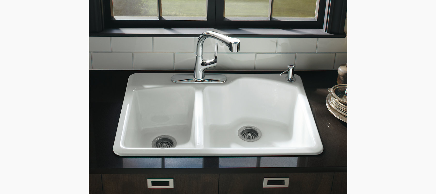 Wheatland Top-Mount Kitchen Sink With Four Faucet Holes