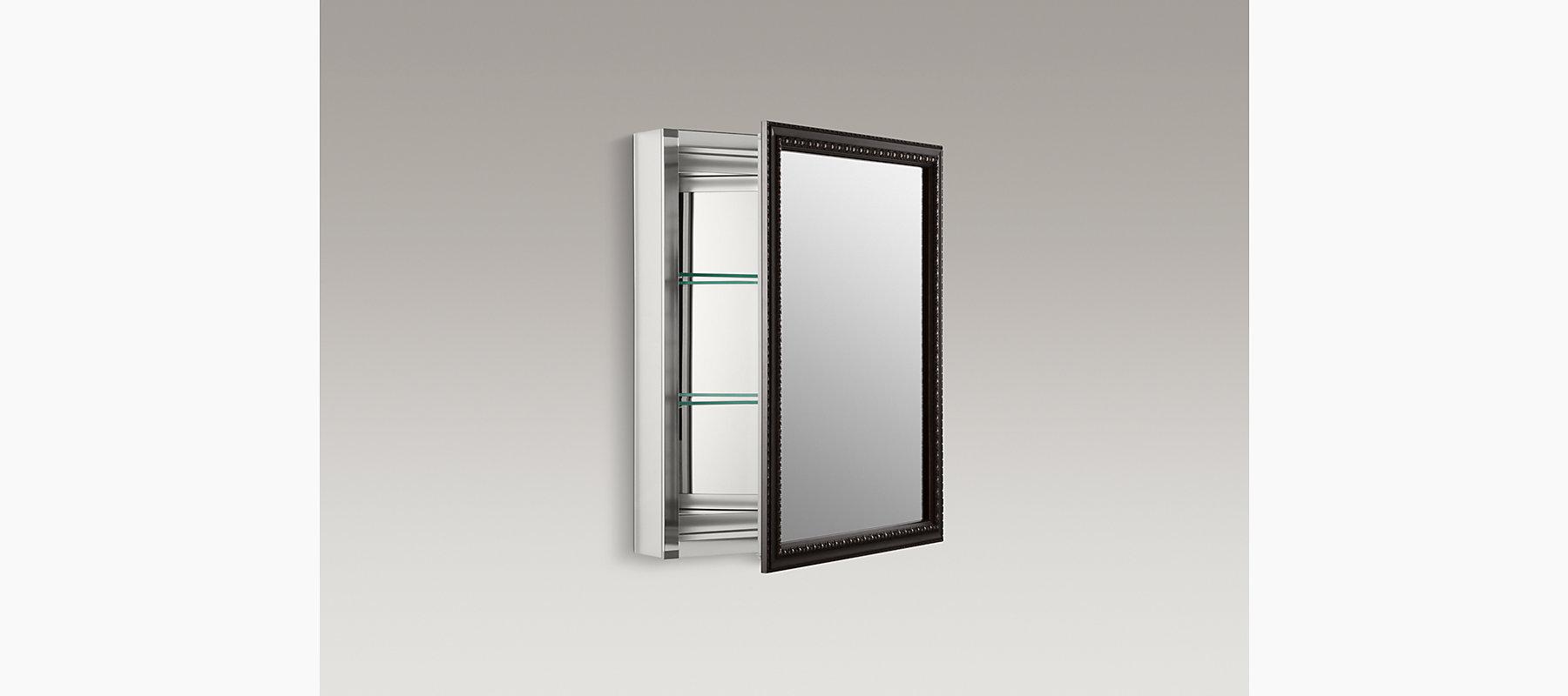 Aluminum Medicine Cabinet With Bronze Framed Mirror Door