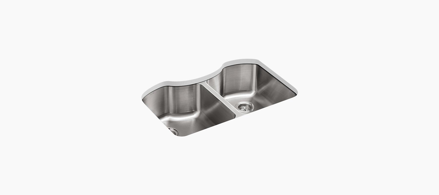 Octave Double Equal Under Mount Kitchen Sink K 3843 Kohler