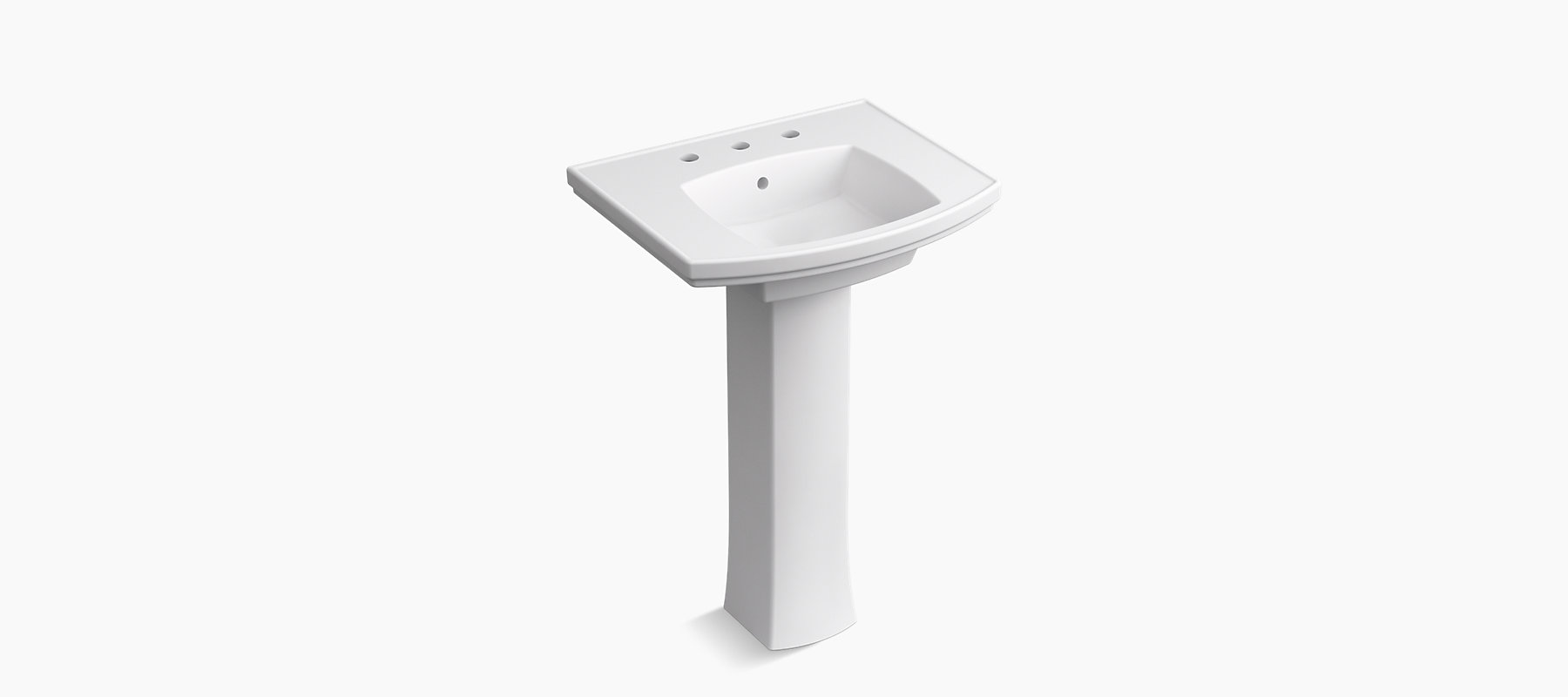 Elliston Pedestal Bathroom Sink 8 Inch Widespread K