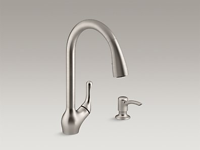KOHLER K-R776-SD-VS Barossa Pull-Down Kitchen Sink Faucet w/ Soap ...