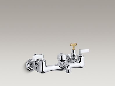 Kohler K 8906 Knoxford Double Lever Handle Service Sink Faucet With Loose Key Stops And 2 1