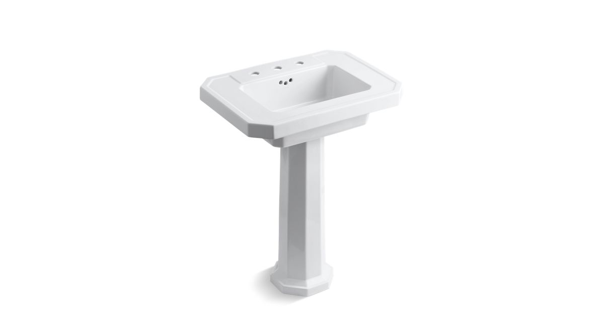 Kathryn Fireclay Basin And Pedestal With 8 Inch Centers
