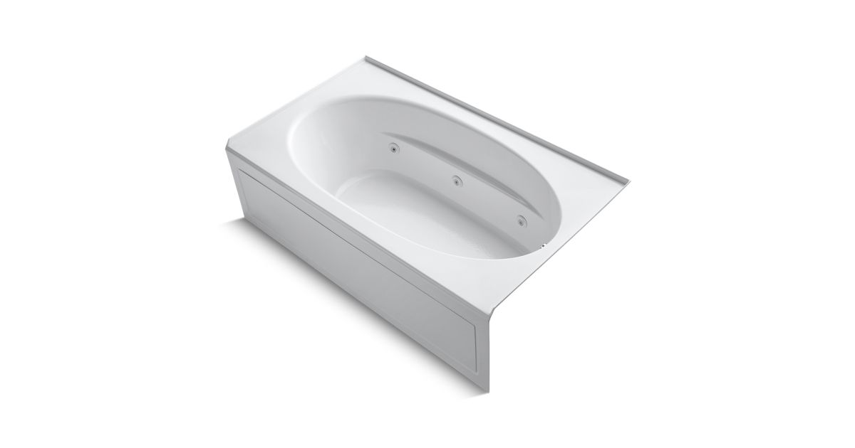 windward 72 x 42 alcove whirlpool with integral apron and right hand drain