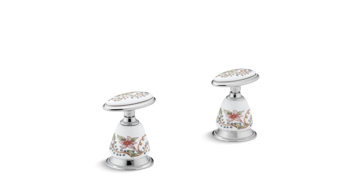 Antique English Trellis Ceramic Handle Insets And Skirts