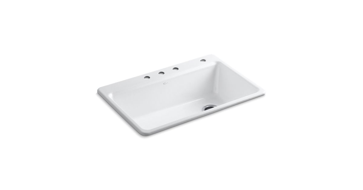 riverby top mount kitchen sink with four faucet holes k r5871 4 kohler - White Single Basin Kitchen Sink