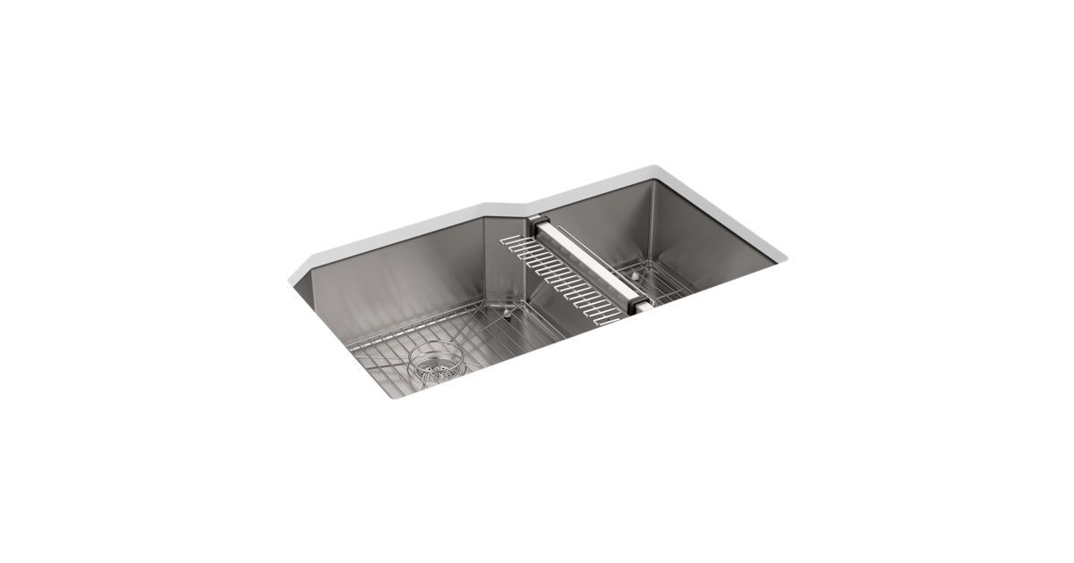 K 5282 Strive 35 1 2 X 20 1 4 X 9 5 16 Under Mount Extra Large Medium Double Bowl Kitchen Sink With Sink Rack Kohler
