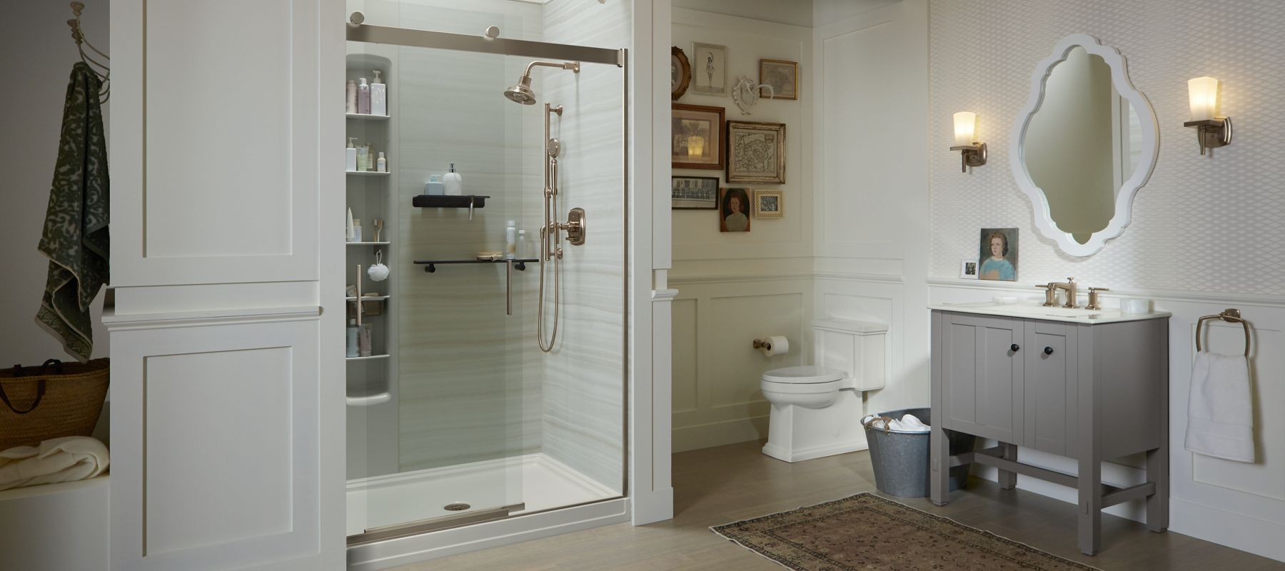Shower doors showering bathroom kohler for Bathroom designs jamaica
