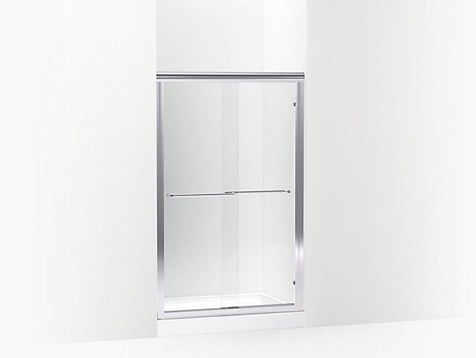 Finesse Frameless Sliding Shower Door 65 1 4 H X 39 11 16 44 11 16 W With 1 4 Thick Clear Glass Sp5465 45s G05 Sterling