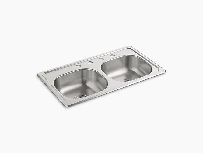 Top-Mount Double-Bowl Kitchen Sink, 33\