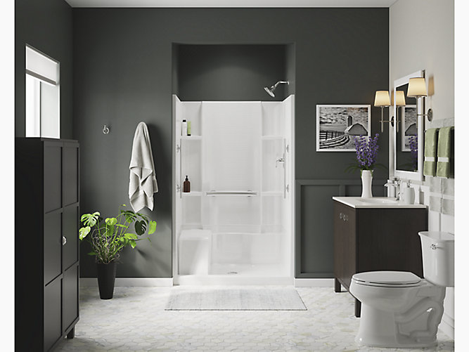 Accord 174 48 Quot Seated Shower With Aging In Place Grab Bars 72280103 V Sterling 72280103 V