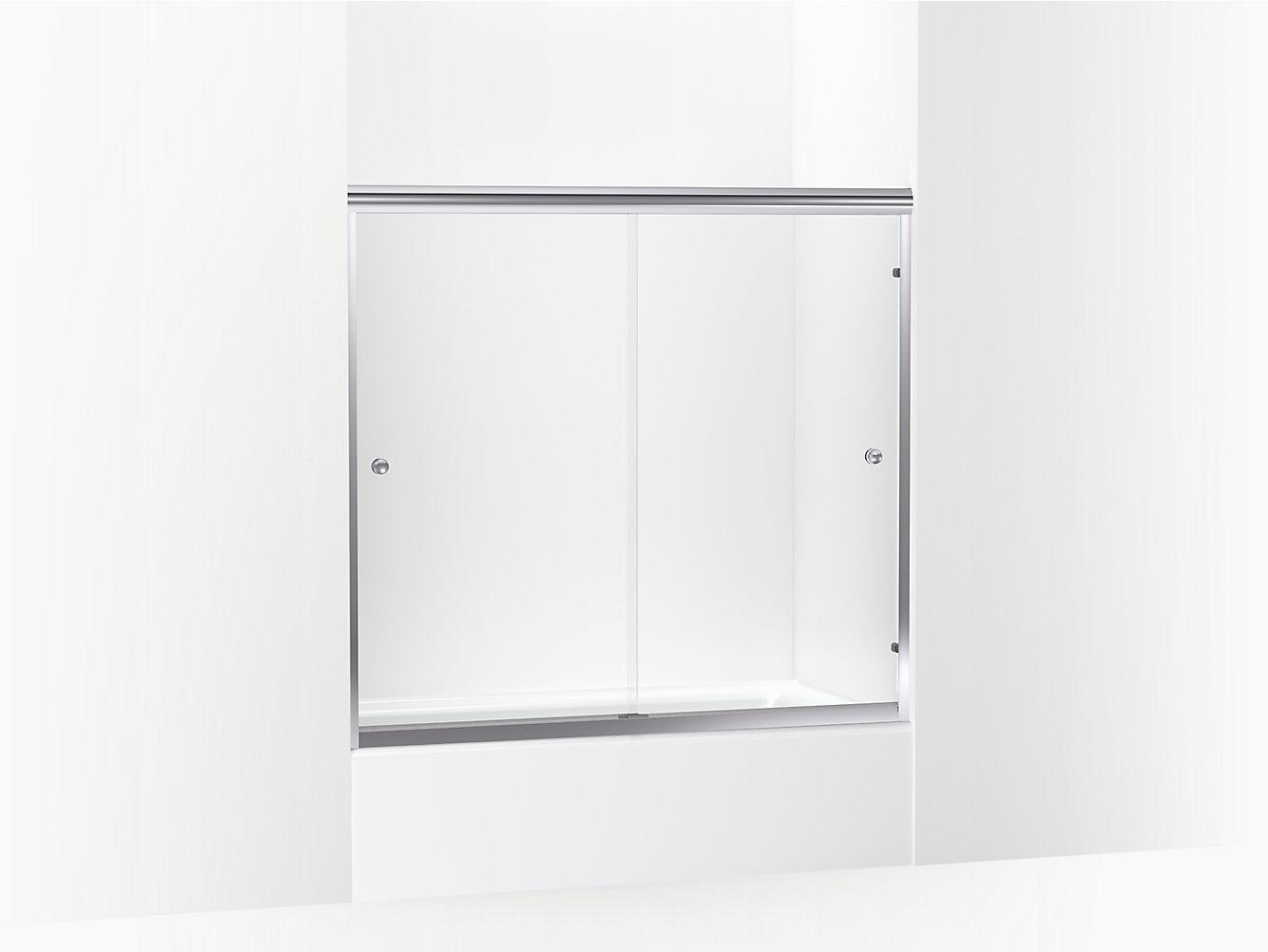 Finesse Frameless Sliding Bath Door 54 5 8 59 5 8 W X 55 3 16 H 5427 59s G05 Sterling
