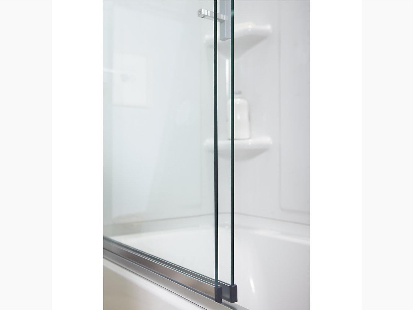 Finesse Peak Frameless Sliding Bath Door 56 5859 58 W X 55 12