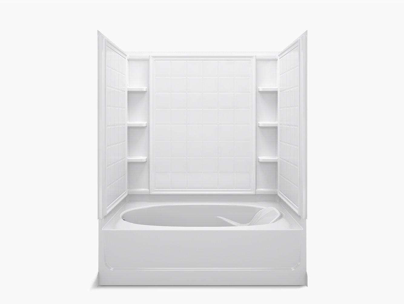 """Ensemble Series 7111, 60"""" x 42"""" Bath/Shower With Above-Floor Drain ..."""