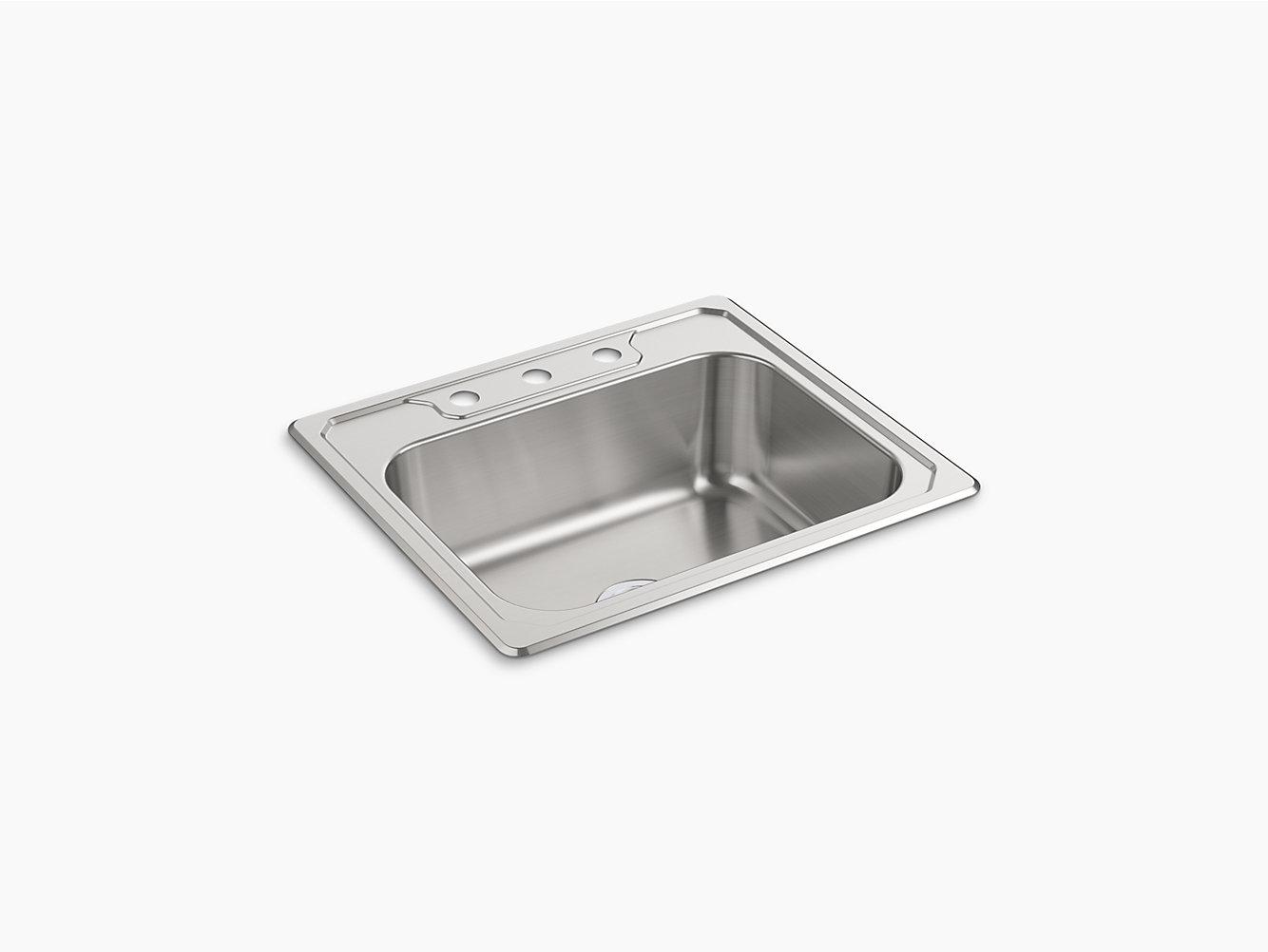 Middleton Top Mount Single Bowl Kitchen Sink 25 X 22 8 14711 3 Na Sterling