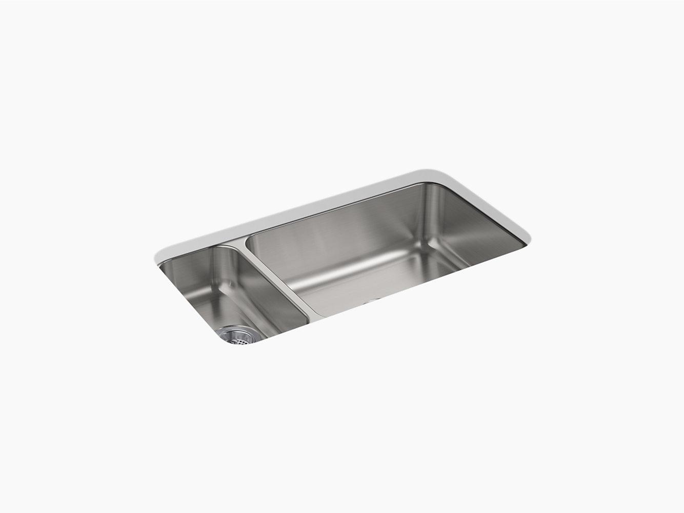 McAllister Under-Mount High/Low Small/Large Kitchen Sink, 31-3/4\