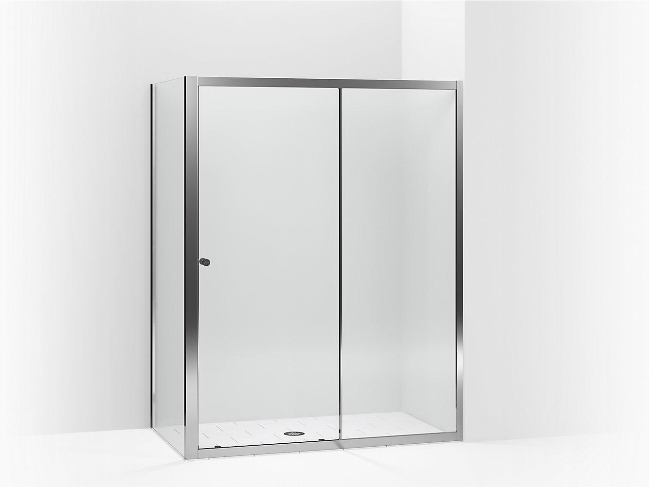 Whiston Frameless Sliding Shower Door With Return Panel For Corner