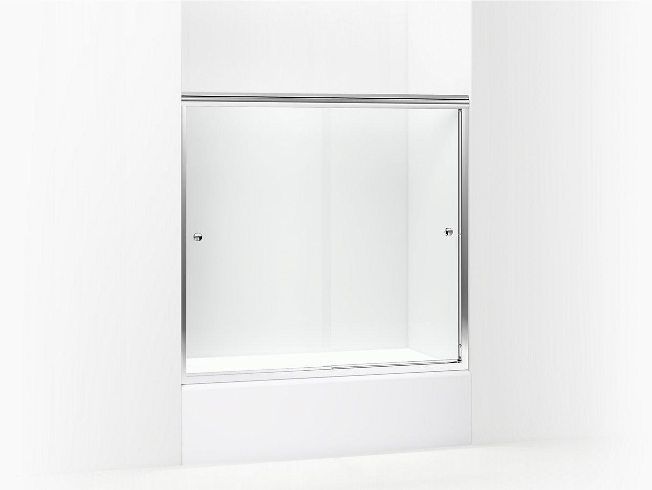 Finesse Frameless Sliding Bath Door 54 5859 58 W X 55 12 H