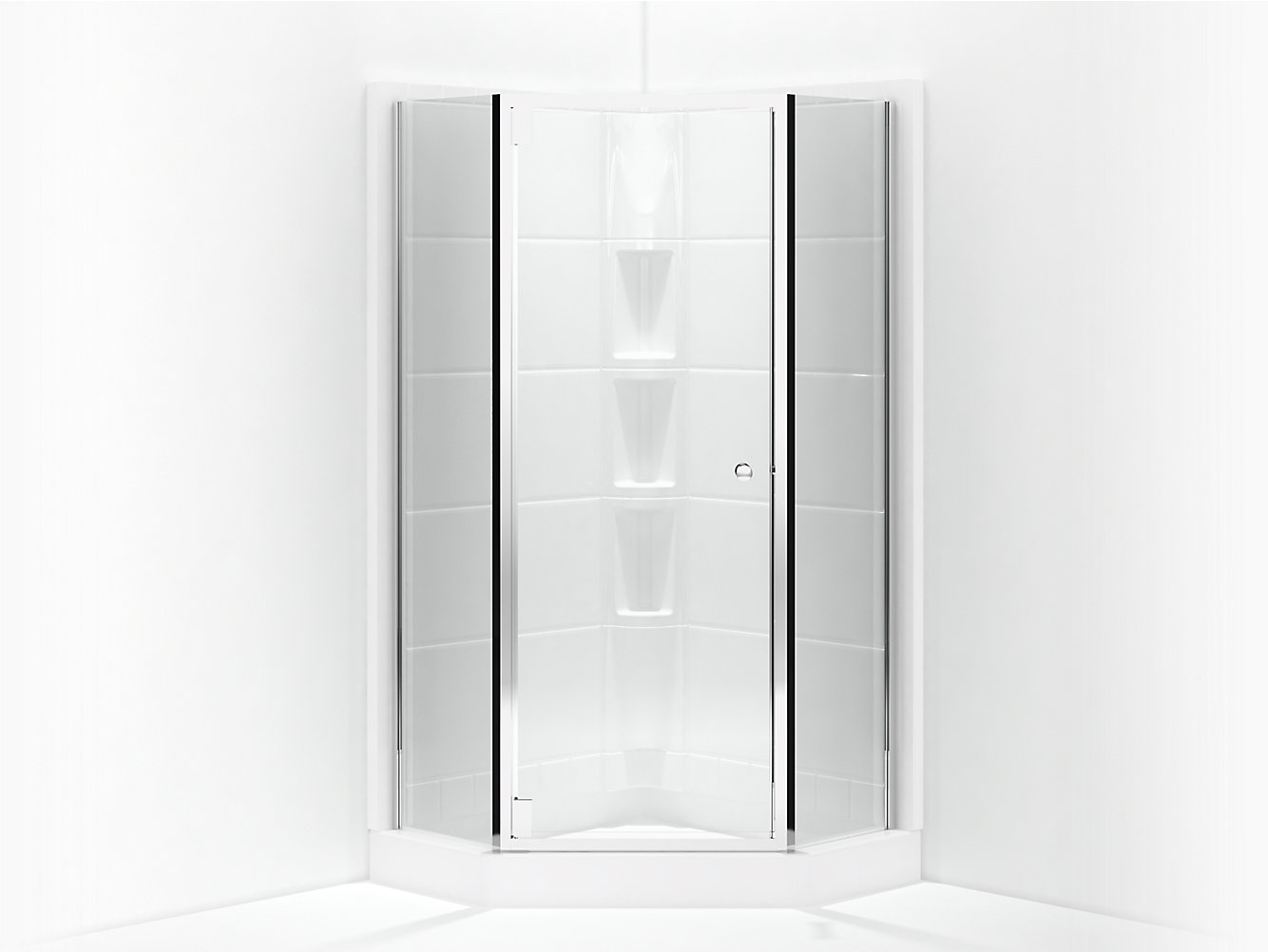 Solitaire Frameless Neo-Angle Corner Shower Door 16-1/4\