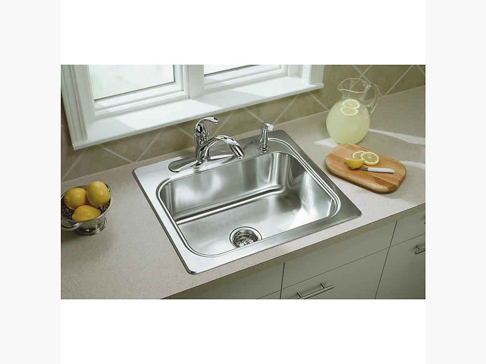 Southhaven 174 Top Mount Single Bowl Kitchen Sink 25 Quot X 22