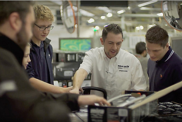 Students participating in Kohler Mira, an internship program in Gloucestershire, learn about STEM careers