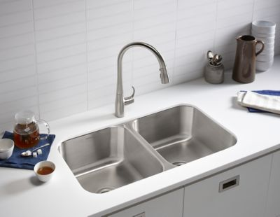 Kitchen Sink Shower Care and cleaning kitchen bathroom sterling plumbing stainless steel sinksmade to withstand the wear and tear of everyday use sterling stainless steel sinks need only gentle cleaning workwithnaturefo