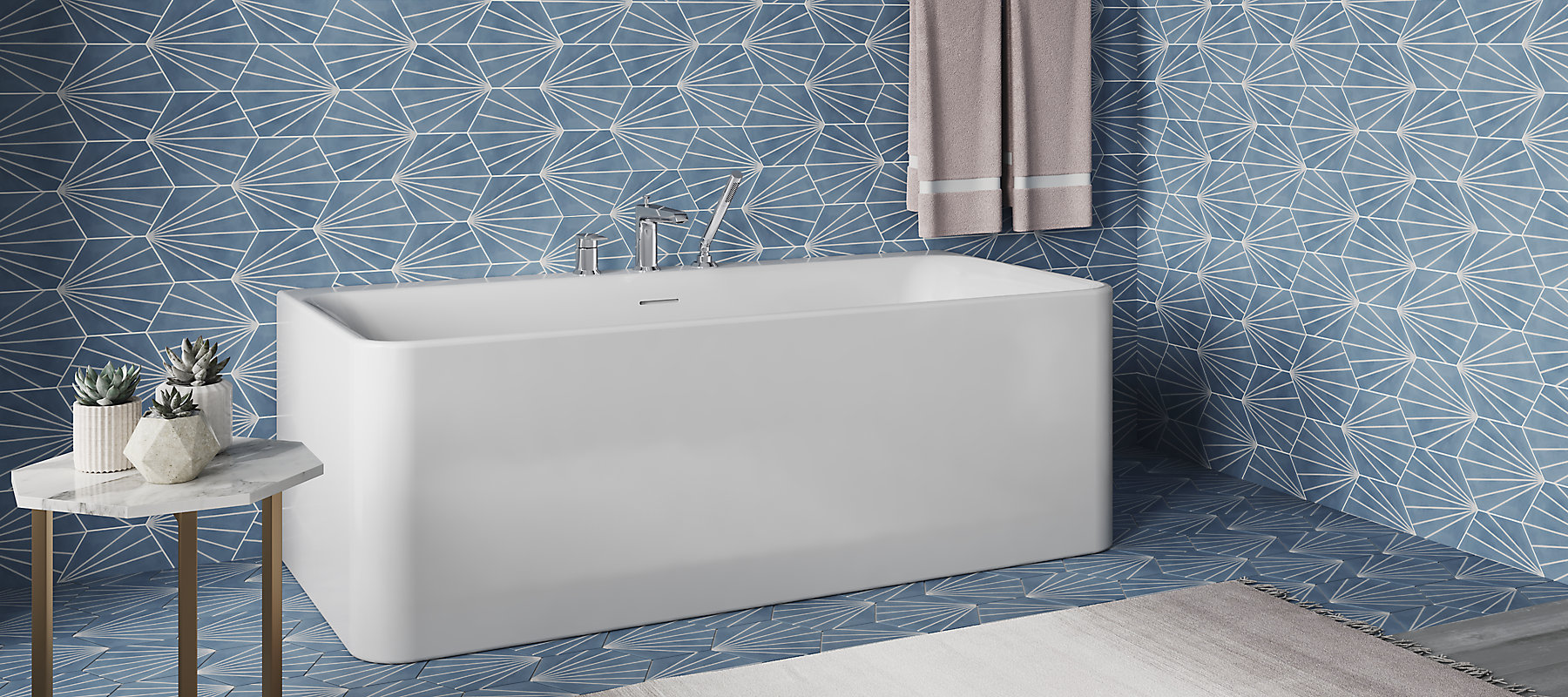 Freestanding baths combine elegant luxury with exceptional durability
