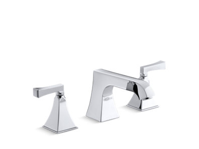 Memoirs® Stately Deck-mount high-flow bath faucet trim with non-diverter spout and Deco lever handles, valve not included