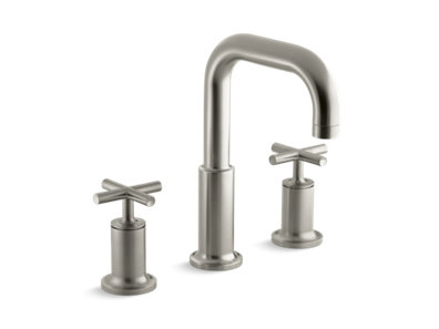 Purist® Deck-mount bath faucet trim for high-flow valve with cross handles, valve not included