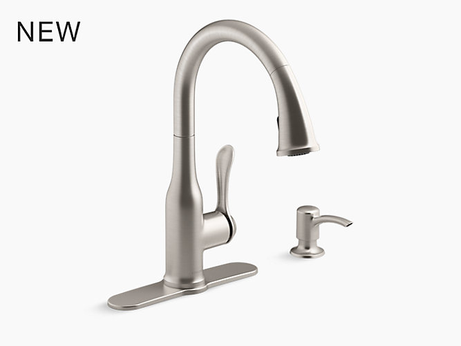 K-R23863-SD | Motif Pull-Down Kitchen Faucet with Soap Dispenser ...