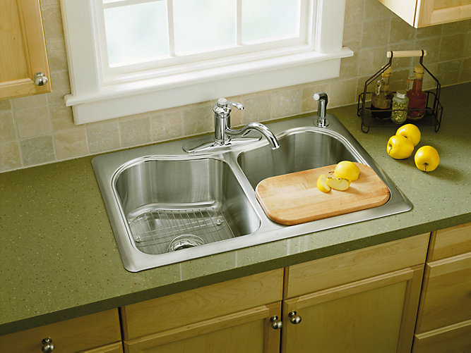 Staccato 33 inch top mount sink with single faucet hole k 3369 1 kohler workwithnaturefo