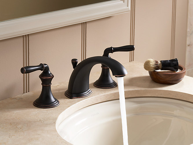 Devonshire Widespread Sink Faucet With Lever Handles K KOHLER - Kohler devonshire bathroom faucet brushed nickel