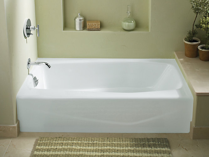 K 715 villager 60 x 30 1 4 alcove commercial bath with for Alcove bathtub dimensions
