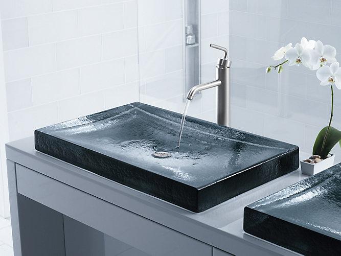 K 2369 antilia wading pool glass sink kohler for Glass bathroom sinks countertops