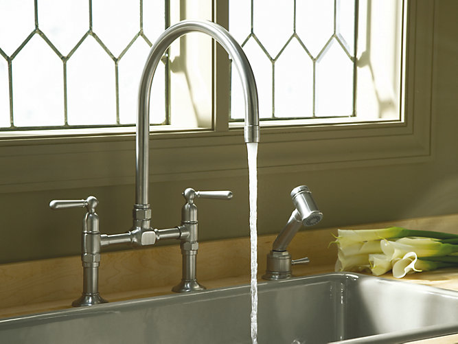 HiRise™ two-hole deck-mount bridge kitchen sink faucet with 10-1/4\