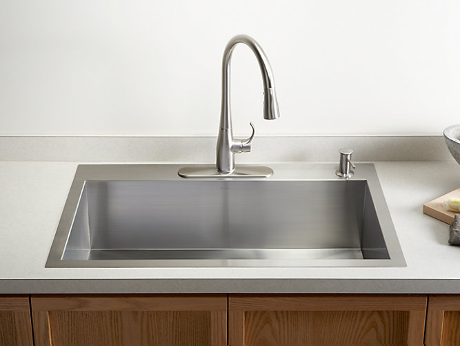 K-3821-4 | Vault Top-Mount or Under-Mount Sink w/ Four Faucet Holes ...