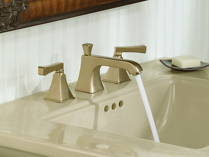 Kohler 454m 4v Memoirs Stately Widespread Bathroom Sink Faucet With Deco Lever Handles