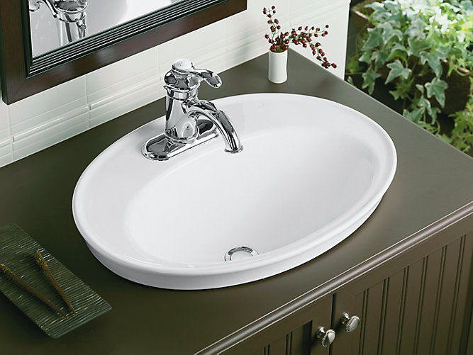 Serif DropIn Sink With Inch Centers K KOHLER - Drop in bathroom sink installation