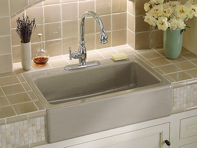 Dickinson apron front kitchen sink w three faucet holes k 6546 3 kohler - Kohler dickinson apron front sink ...