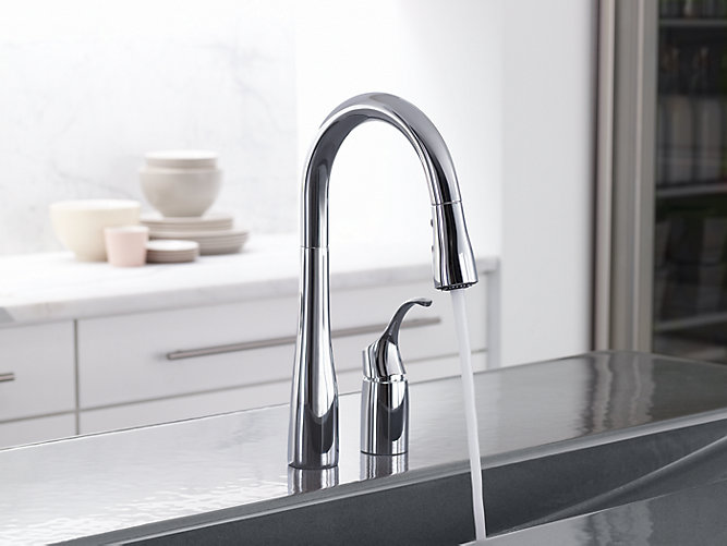Simplice® two-hole kitchen sink faucet with 14-3/4\