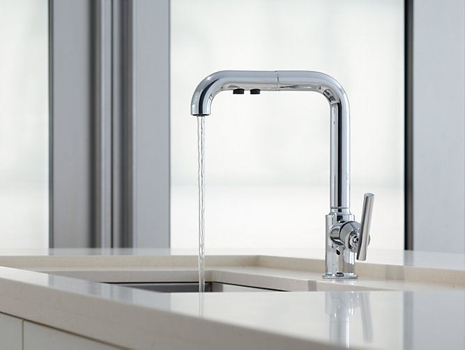 purist single handle pullout spray kitchen sink faucet k 7505 kohler. Interior Design Ideas. Home Design Ideas