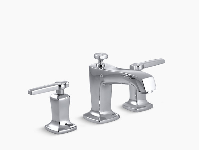 7 Faucet Finishes For Fabulous Bathrooms: Margaux Widespread Sink Faucet With Lever
