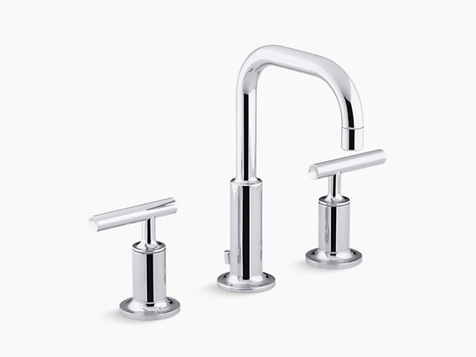 K 14406 4 purist widespread sink faucet with low lever - Kohler two tone bathroom faucets ...
