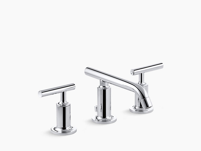 Purist Widespread Sink Faucet With Low Lever Handles K 14410 4 Kohler