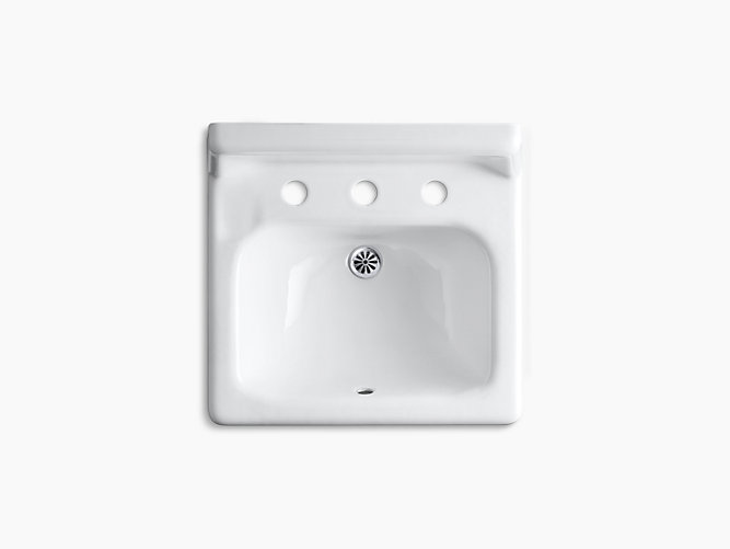 Hudson Wall Mounted Commercial Bathroom Sink With 8 Widespread Faucet Holes 19 X 17 K 2863